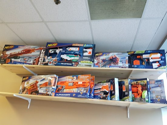 Barrie, Canada: Nerf arsenal for Nerf battles (there's also Nerf archery dodgeball!)