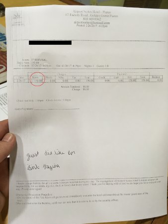 Airport Suites Hotel: Our invoice, which we refused to pay. Don't try to dispute the cost now. This is proof.