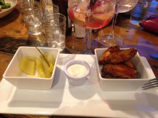Dungiven, UK: chicken wings and pickled celery - yum