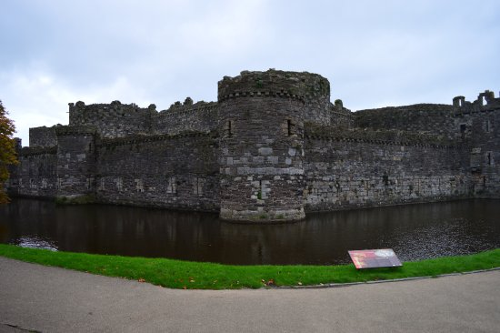 The moat surrounding Beaumaris Castle