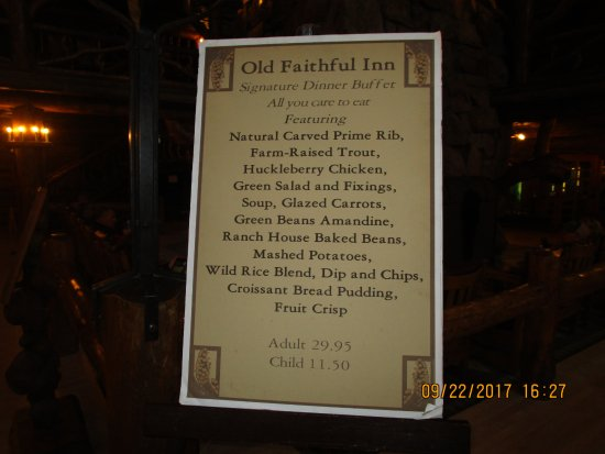 Old Faithful Inn Dining Room Dinner Buffet Menu
