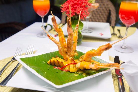 Petite Calivigny, Grenada: Mango shrimp skewers