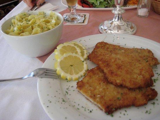 Pirmasens, Duitsland: Tagesgericht Schnitzel mit Nudeln