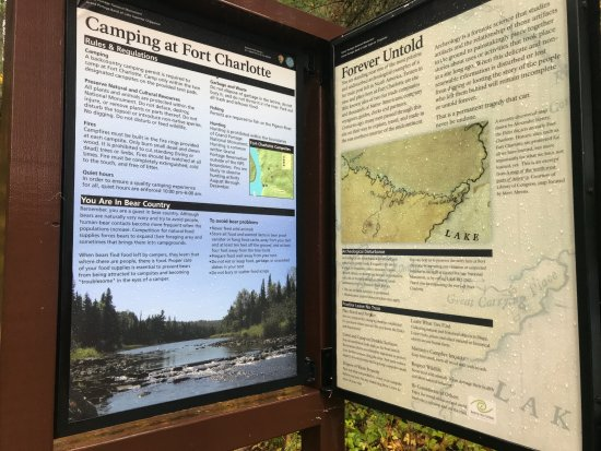 Grand Portage, MN: Park Service Signage at Fort Charlotte