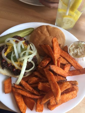 Driftwood Take Out: Hamburger with sweet potato fries.