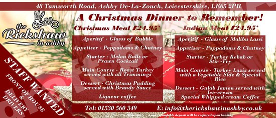 Ashby de la Zouch, UK: Christmas lunch bookings 