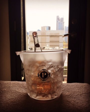 La Pensione: Logo ice bucket is perfect for chilling rose!