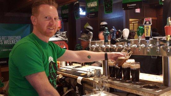 Sun Peaks, Canada: Damon pouring Guinness on St. Patricks Day