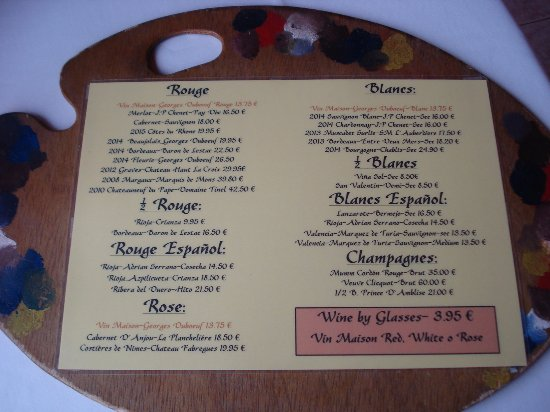 Wine list. - Picture of Restaurant Montmatre, Costa Teguise ...