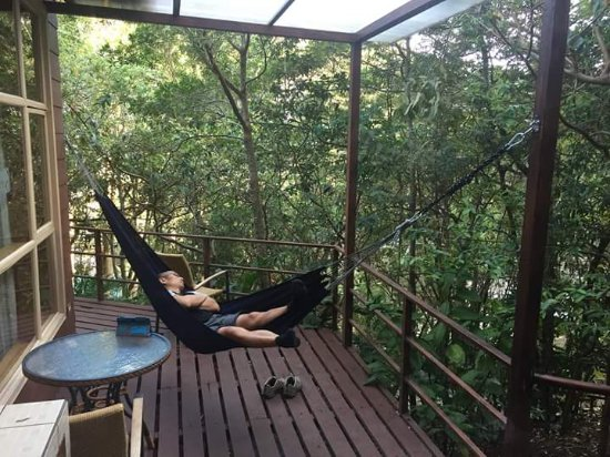 Cerro Plano, Kostaryka: Enjoying cabin 16 - the hammock, good coffee (nice local stuff they provided in our cabin) and b