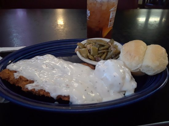 Hope, AR: Chicken fried steak, mashed potatoes, cream gravy, country style green beans and yeast roll