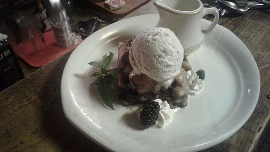 Centennial, WY: Fresh Blue Berry Bread Pudding w/White Chocolate Creme Anglais,,,