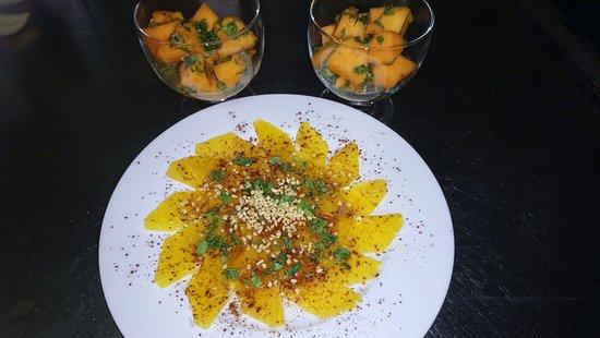 Massy, Frankrig: Salade de melon charentais & carpaccio d'orange