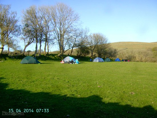 Ivybridge, UK: View of Camping Field with Dartmoor in Background.