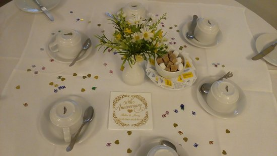 The Mayfair Hotel : Our daughter arranged the table settings.
