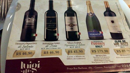cf7c3c93f ... qualidade e bom custo. Massas Luigi  Carta de vinhos do Luigi