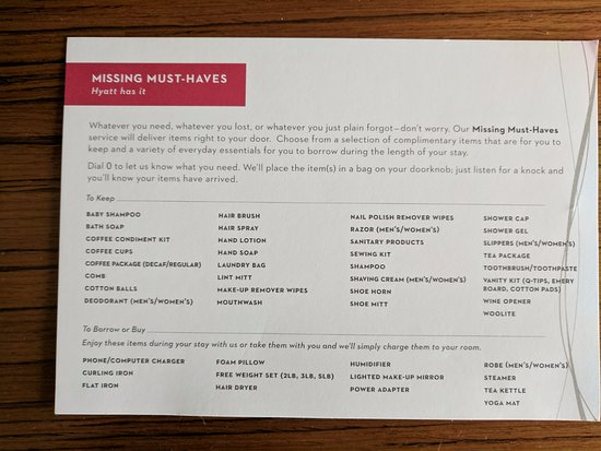 Grand Hyatt San Francisco: Missing items? Just request it from hotel.