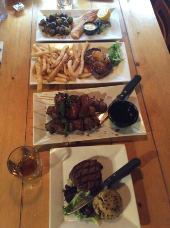 Top to bottom....walleye, elk meddalions, skewers with bison/elk/venison, bacon wrapped bison fi