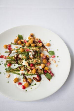 Athens, GA: Okra and chickpeas with harissa and yogurt