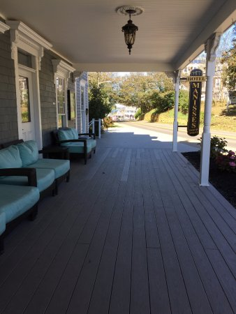 Block Island, RI: Front veranda looks out to Spring Street