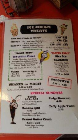 Oglesby, إلينوي: Ice Cream Menu