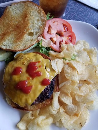 Mount Vernon, IA: burger and chips