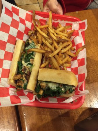 Arnold, MD: rosemary chicken sub with fries