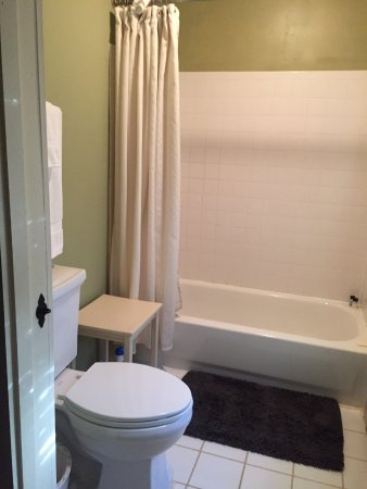 Locust Dale, VA: View of bathroom: toilet and tub, the sink is not in the bathroom but it the room.