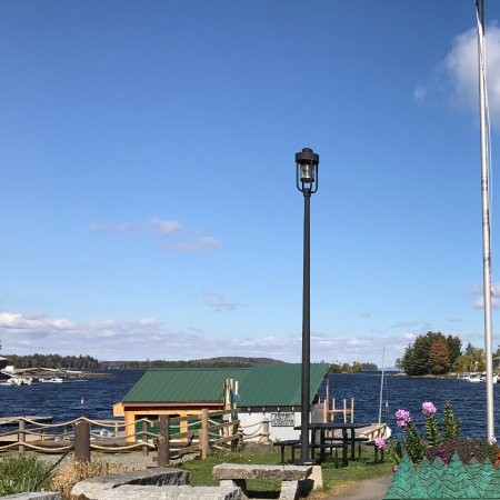 Greenville, Maine: Thoreau Park with a glimpse of the Katahdin in the background in Greenville, Maine