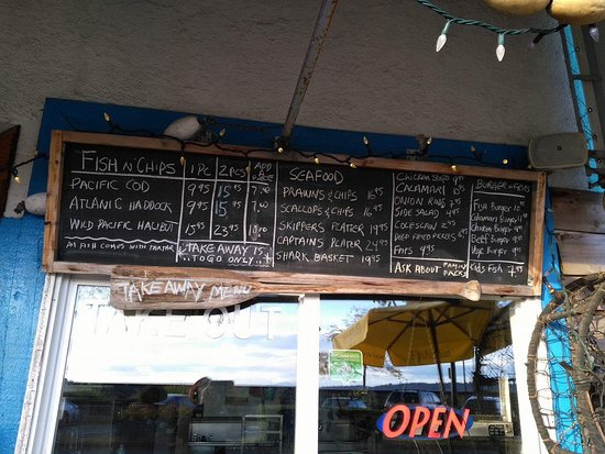 White Rock, Canada: Menu et comptoir take out