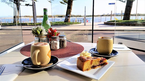 Yummy cake and chai tea with nice view