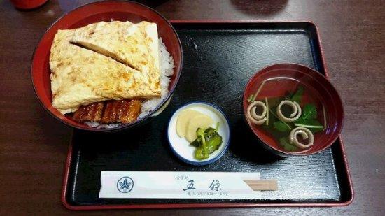 Kosai, Japan: こんな鰻丼見たことありますか? うなぎの蒲焼の上には座布団錦糸卵が鎮座してます。 ボリュームたっぷりで1900は、お値打ちですね。