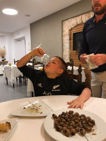 Sant Marti de Llemena, Spanyol: Washing down the delicious snails!