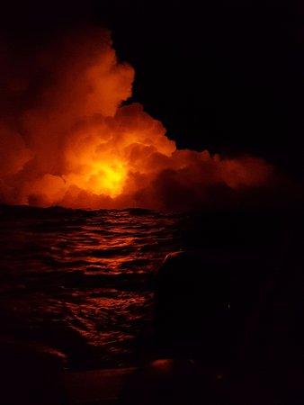 Pahoa, HI: Lava hitting the water