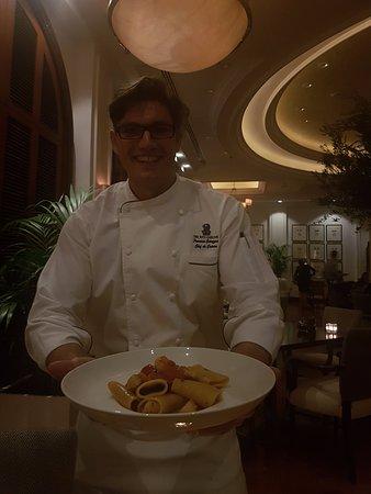 Splendido: Chef Francesco with one of his creations, Amazing Seafood Pacheri!