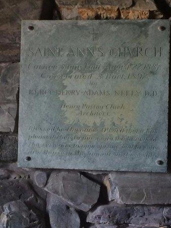 Saint Ann's Church: plaque