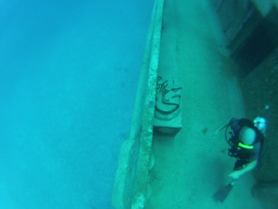 Kittiwake Shipwreck & Artificial Reef: Diver on the USS Kittiwake