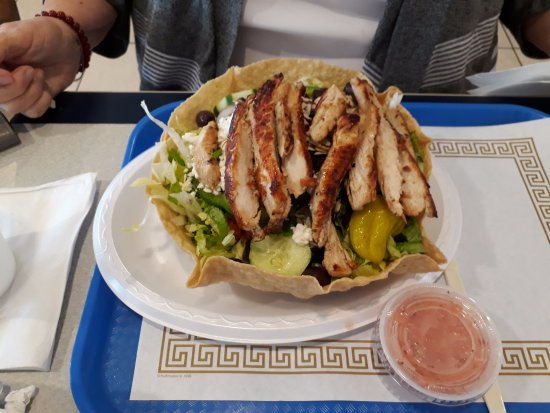 Salisbury, NC: Cranberry Almond Greek Salad on a Taco Shell