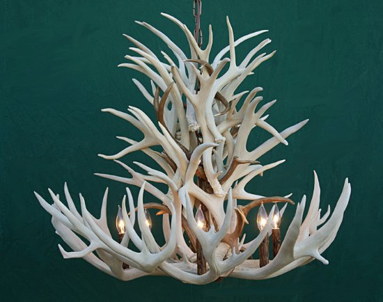 Dubois, WY: Antler chandelier using brown and white mule deer antler