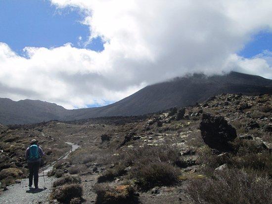 Tongariro Alpine Crossing: Mt. Ruapehu shrouded in clouds