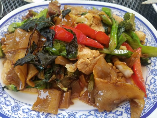 Randolph, VT: Pad Kee Mao, with it's chewy, wide noodles, is hearty and flavorful