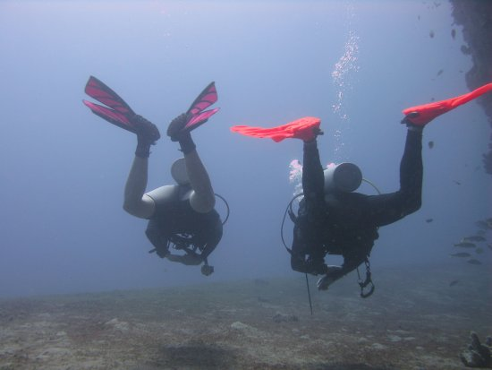Gros Islet Quarter, Sainte-Lucie : Two frogged legged divers..