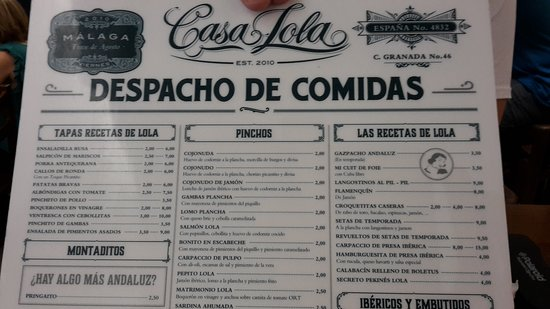Casa lola malaga calle granada 46 restaurant avis num ro de t l phone photos tripadvisor - Casa plus malaga ...