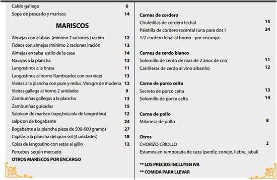 Roxos, España: Carta con gran variedad de platos