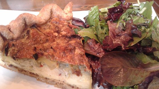 The Pie Plate: Crust less quiche with Asiago vheese and salad.