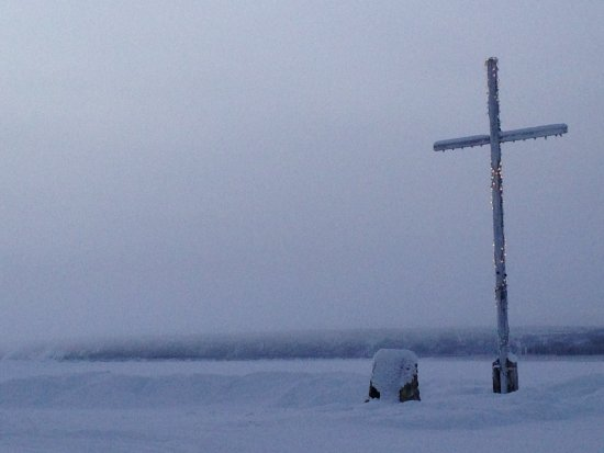 Outside of Fort Good Hope Church overlooking the Mackenzie River