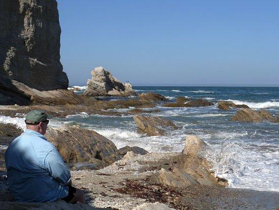 Los Osos, Califórnia: Mike, enjoying the sound of waves, crashing against the rocks.