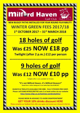Milford Haven, UK: Winter Green Fee Rates 1st October 2017-31st March 2018