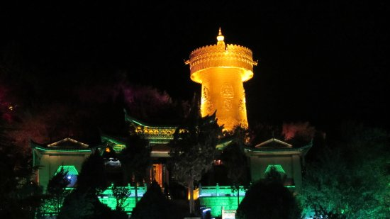 Shangri-La County, China: The prayer wheel at night