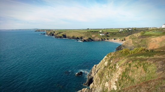 View back to the hotel from the coastal path towards Mullion Harbour